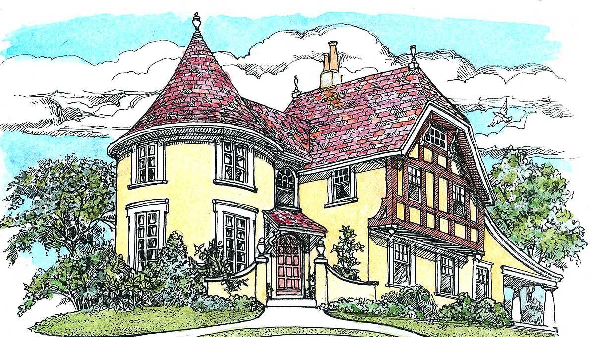Turreted tudor cottage 11605gc architectural designs house plans