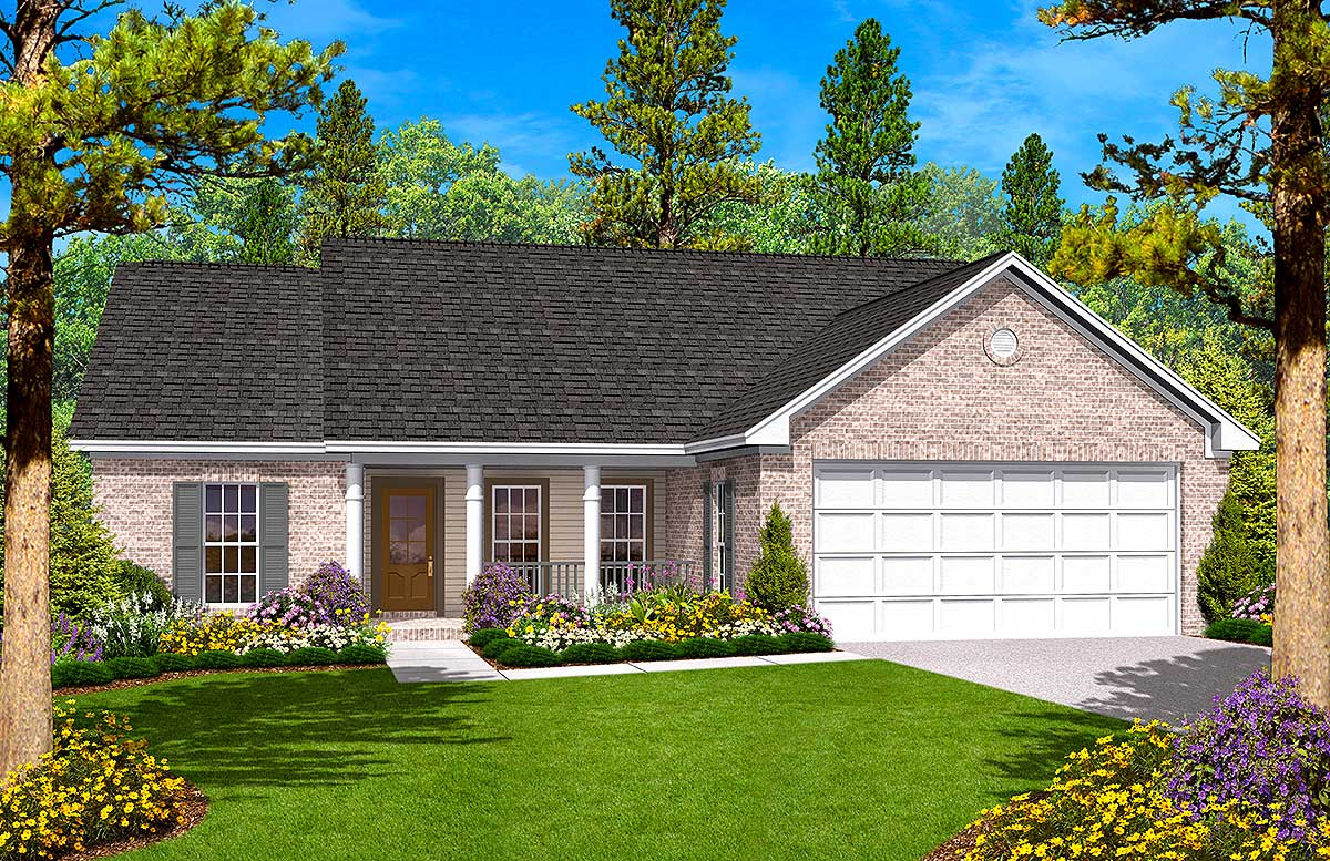 Split Bedroom Ranch House Plan - 11703HZ