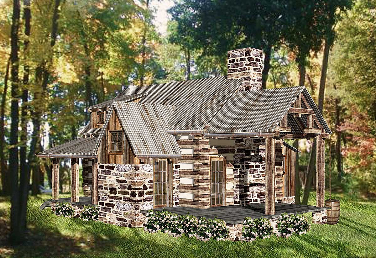 Tiny Home Designs: Rustic Vacation Log House Plan - 13333WW