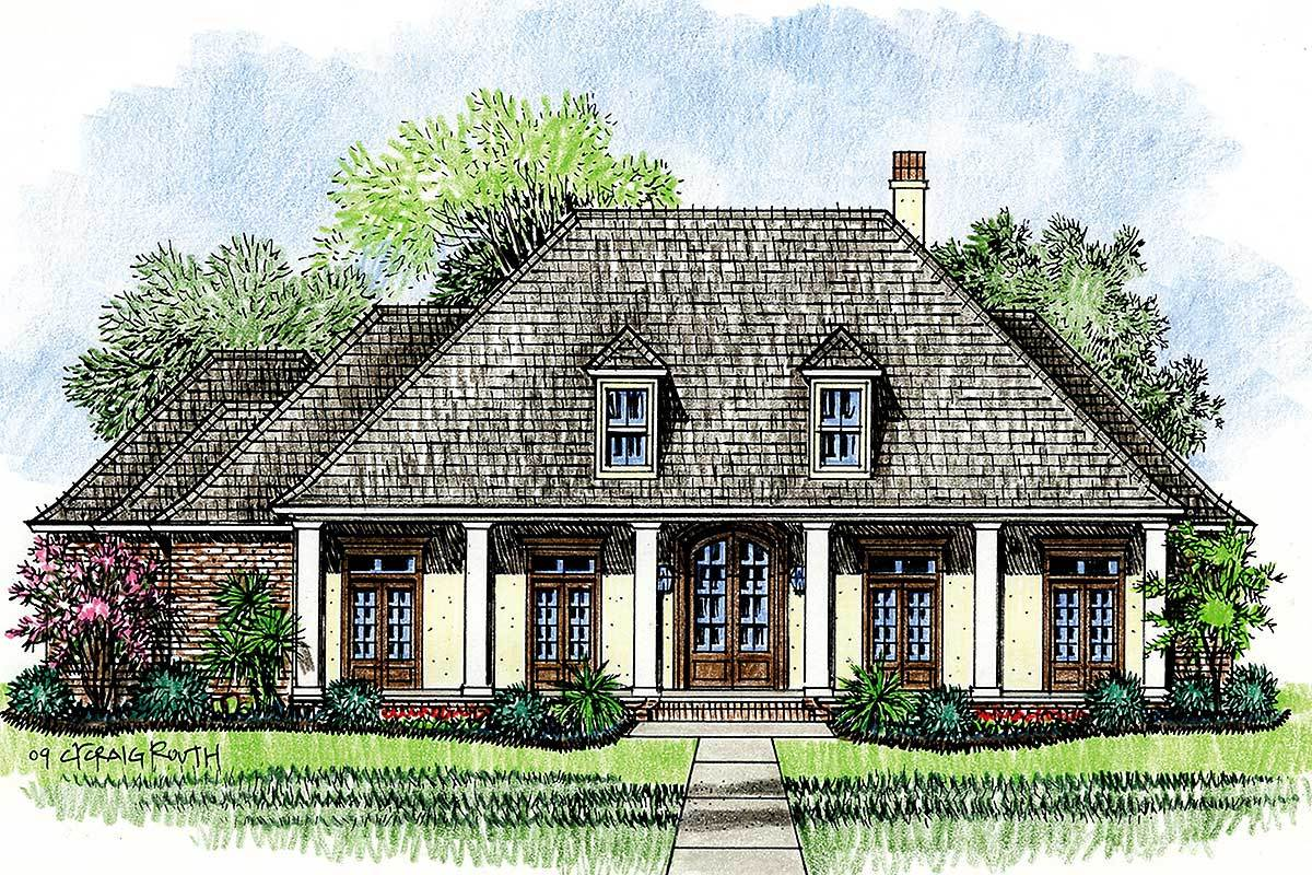 Acadian House Plan With Wrap Around Porch 14138kb Architectural Designs House Plans