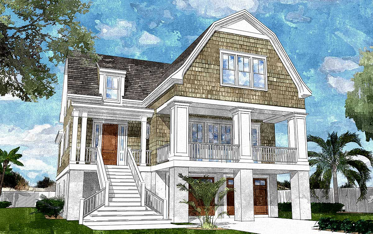 Gambrel-Roofed Shingle Style House Plan