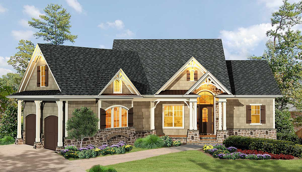 Gabled 3 Bedroom Ranch Home Plan - 15884GE