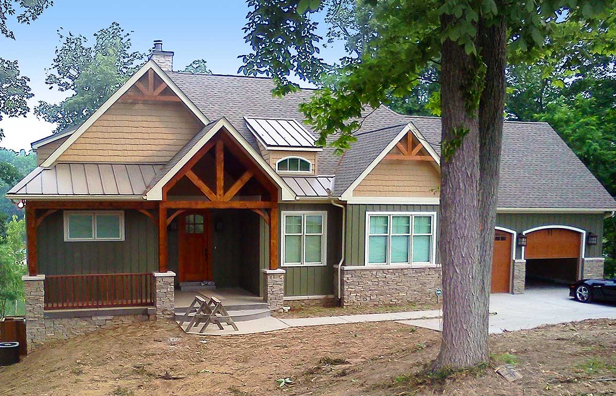 Rugged Craftsman Home For A Sloping Lot