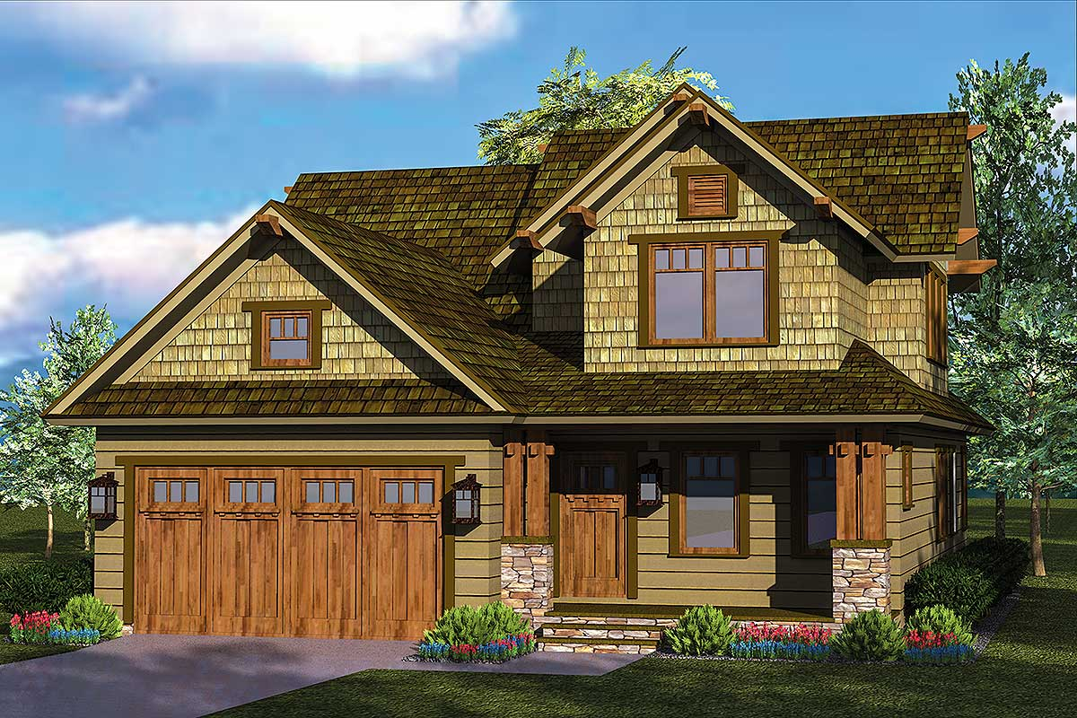 Rustic Craftsman Home Plan - 17733LV | Architectural ...