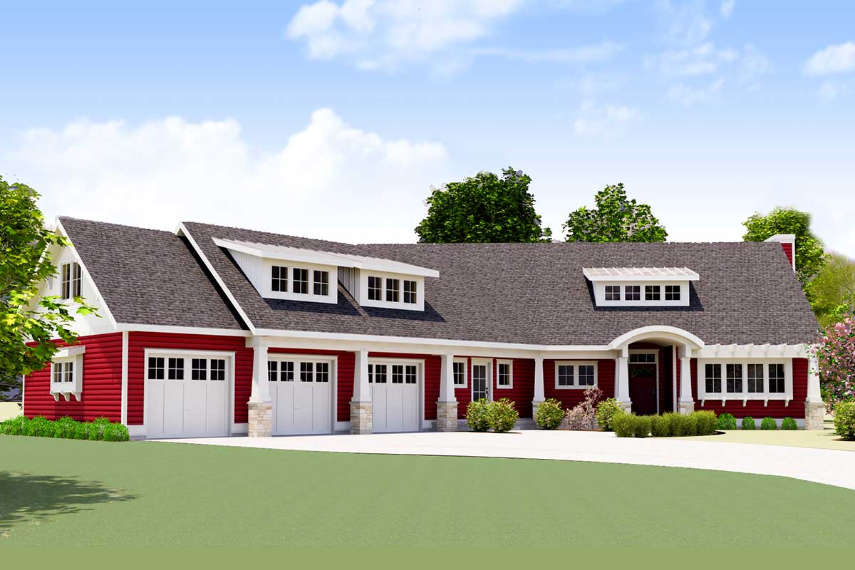 Red Cottage with In Law Suite 18249BE Architectural