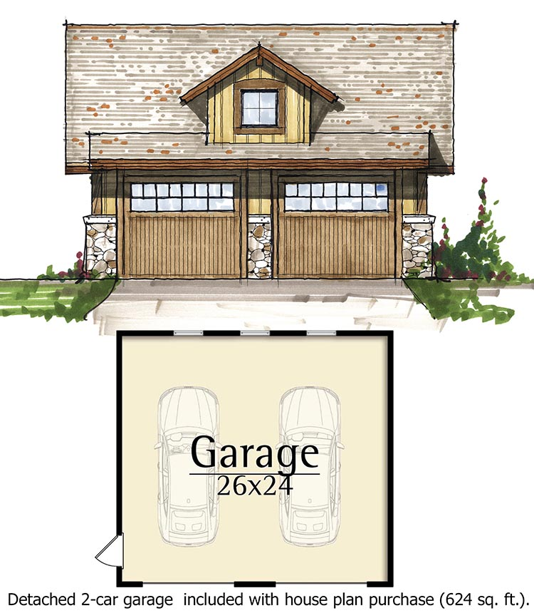 Plan 18797CK: Narrow Lot Mountain Home with Loft on house without garage, narrow lot house plans with detached garage, house plans rear garage,