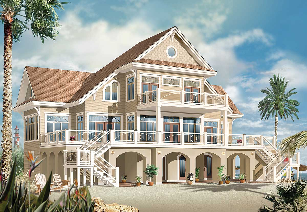 Vacation Beach House Plan - 21638DR | Architectural ...