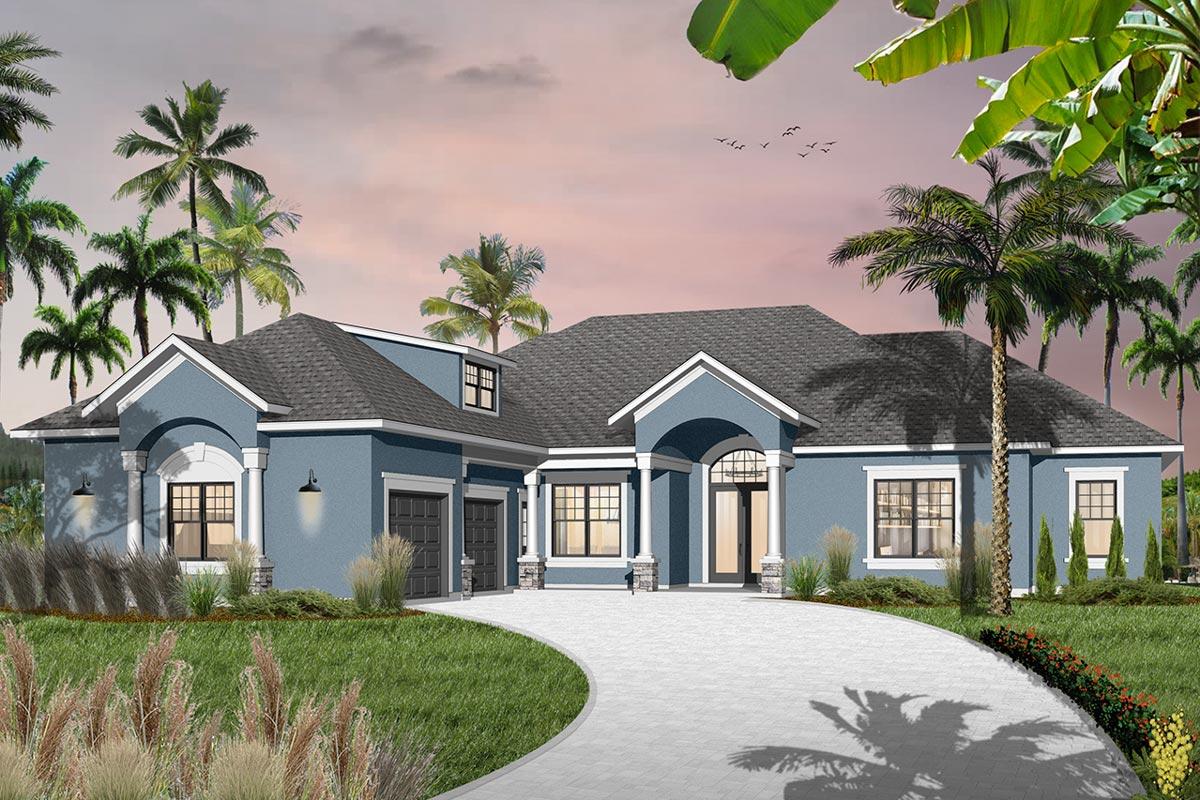 Mediterranean Garage Plans: Lavish Mediterranean House Plan With Optional Bonus Room