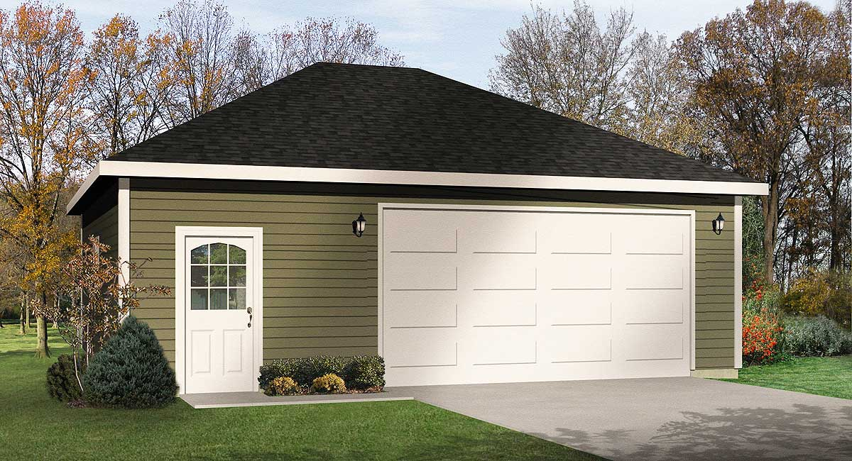 Hip Roof 2 Car Drive Thru Garage 22054sl Architectural