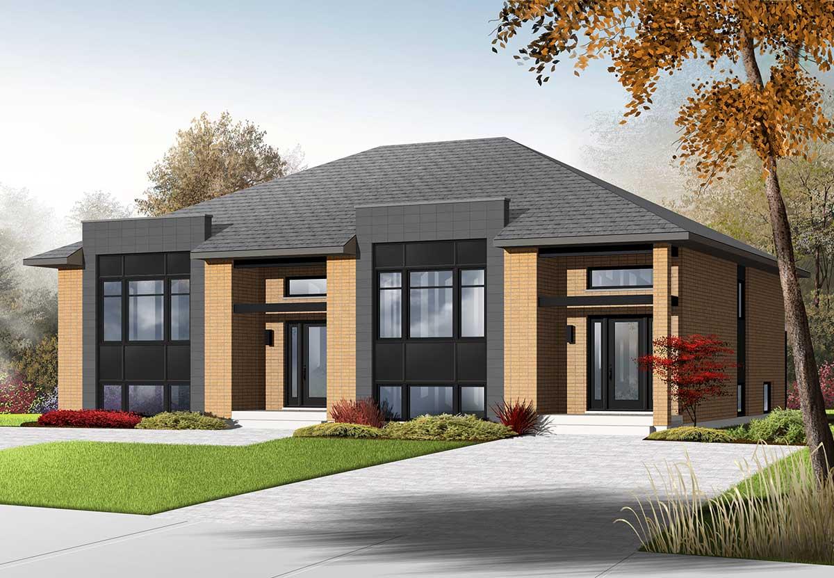 Sleek Modern Multi-Family House Plan - 22330DR ...
