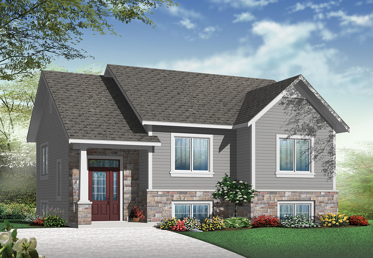 Small Split Level Home Plan - 22354DR