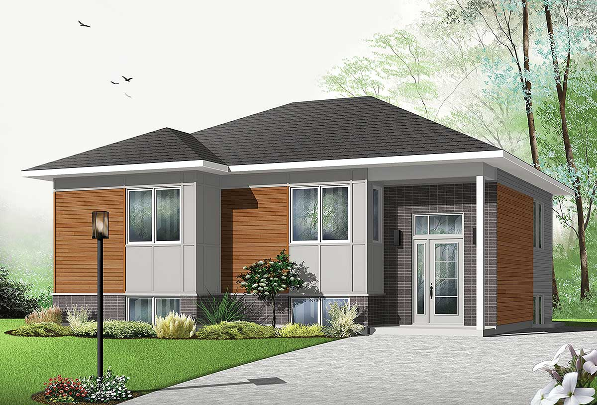 Affordable Contemporary Split Level House Plan - 22355DR ...