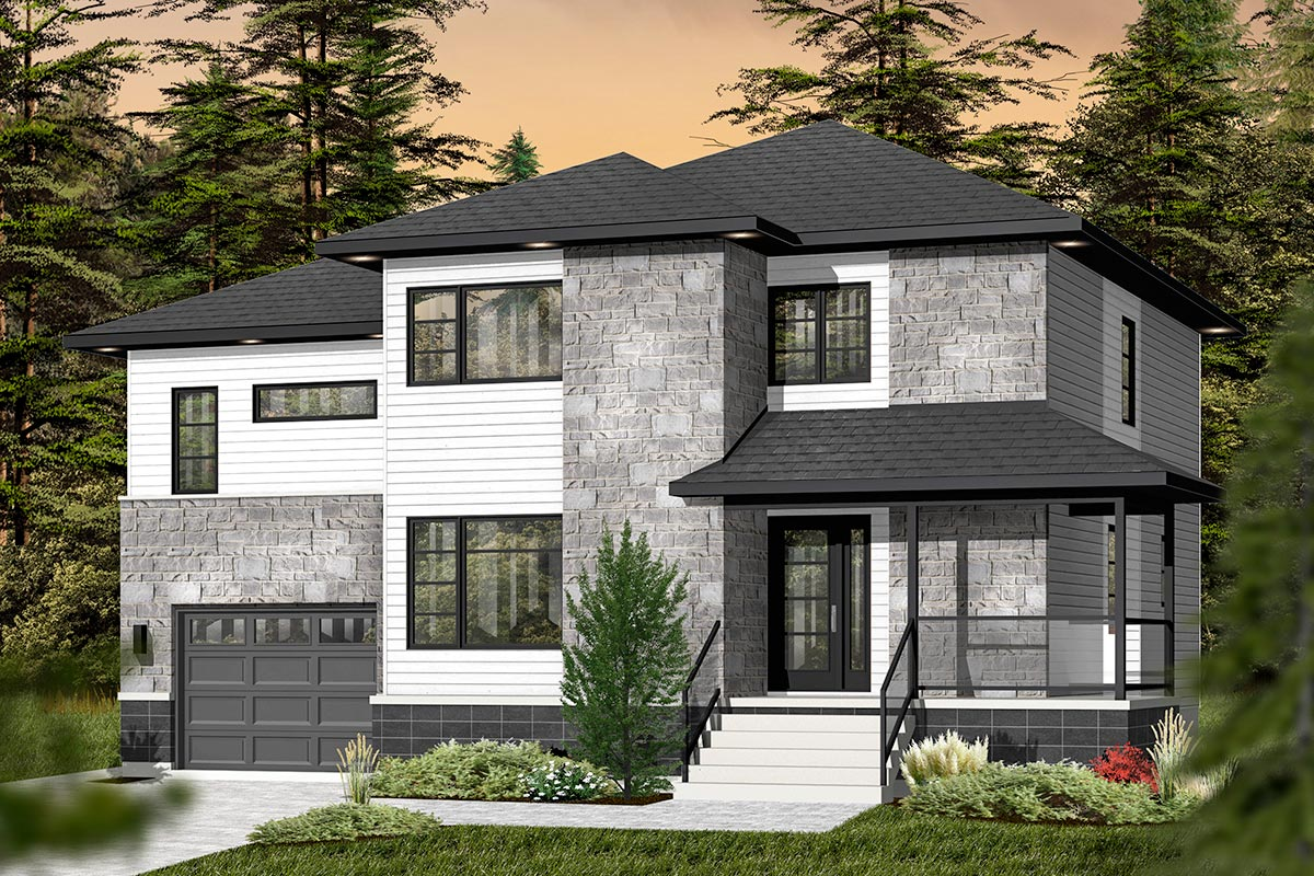 4 Bed Contemporary Split Level Home Plan - 22361DR ...