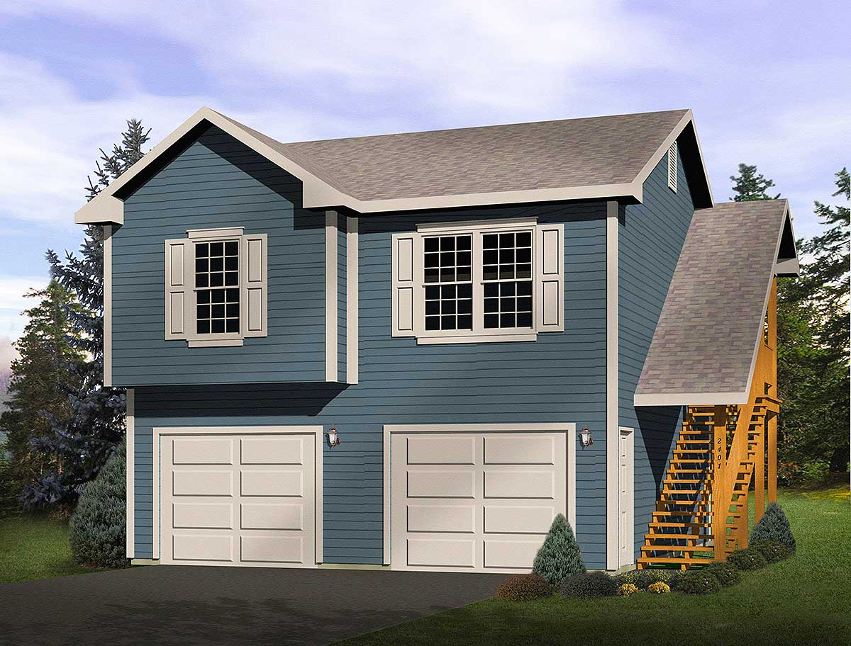 2 Car Garage Apartment Plans: 2-Car Garage Apartment - 2241SL