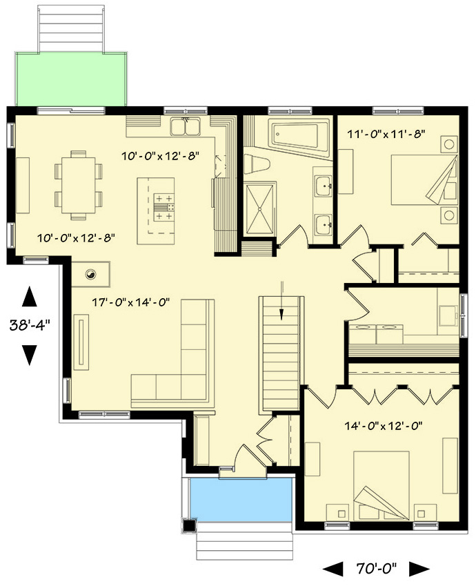 2 Bed Bungalow With Open Floor Plan 22414dr Architectural Designs House Plans