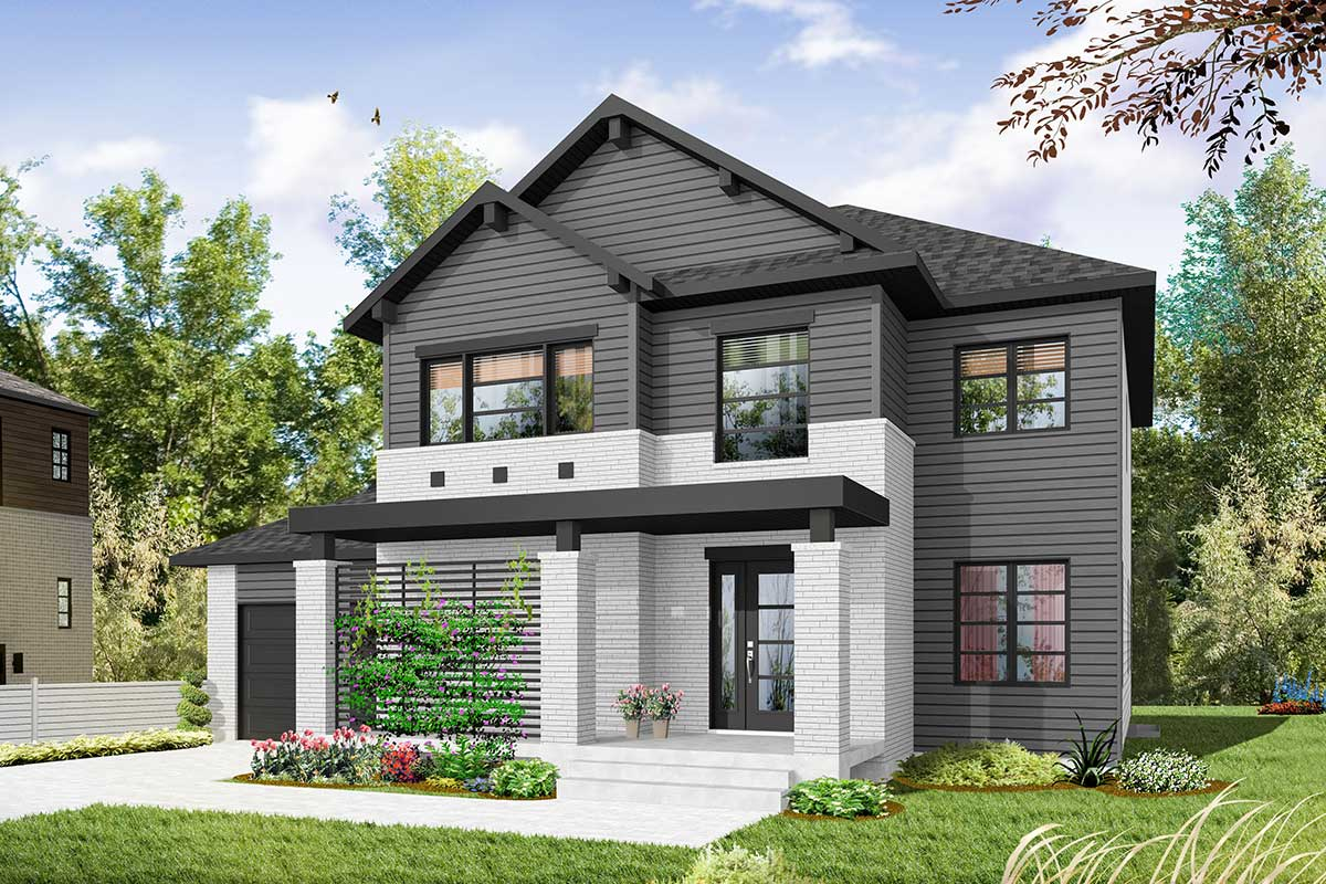 Narrow Lot Craftsman House Plan - 22434DR   Architectural ...
