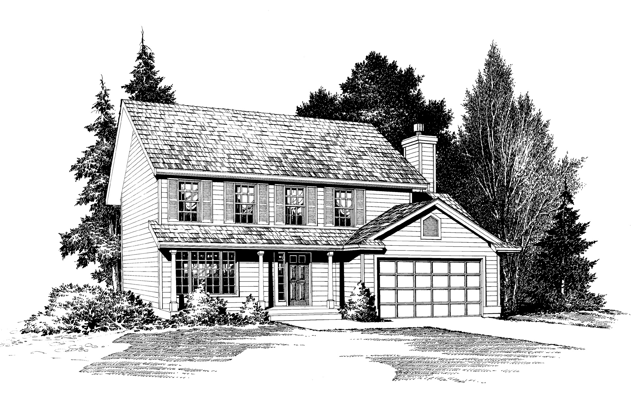 Traditional House Plan With Open Floor Plan In Two Areas