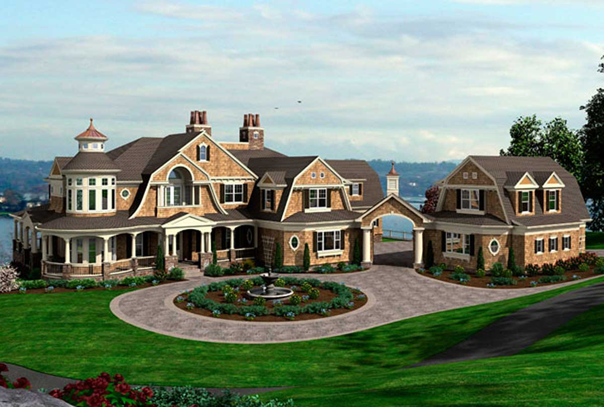 Spectacular Shingle Style House Plan - 23413JD ...