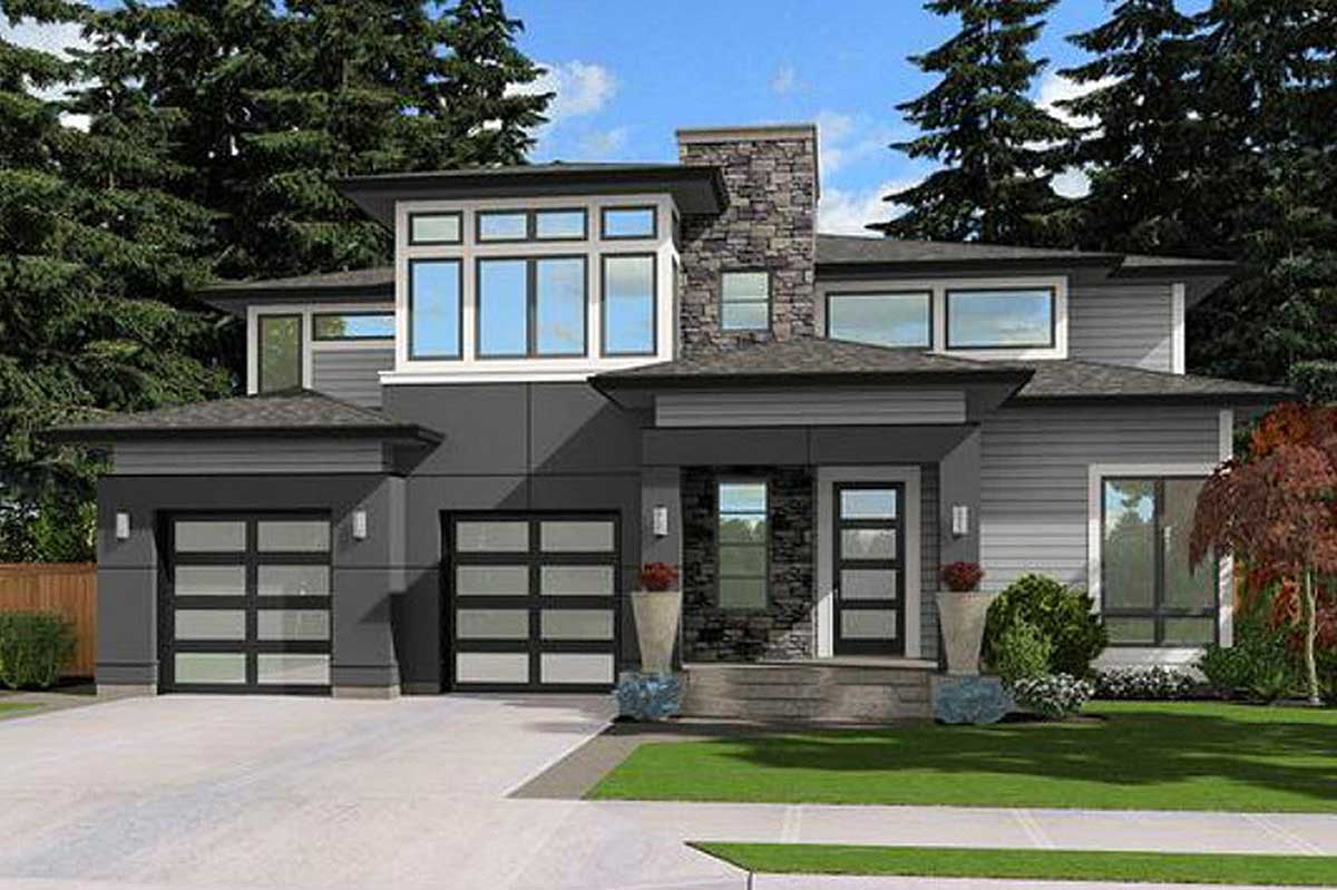 Contemporary Prairie Style House Plan with Lots of Options ...