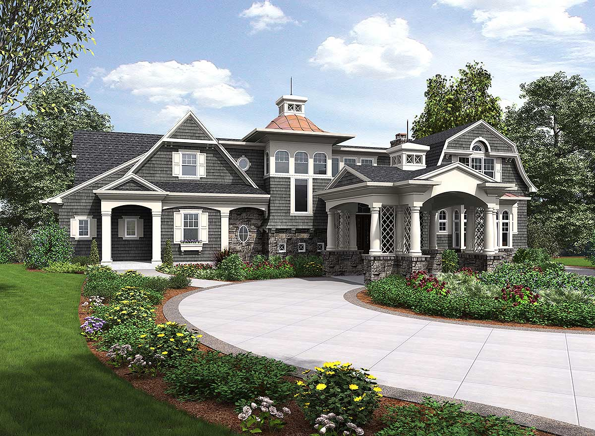 Premium Shingle Style House Plan - 23599JD