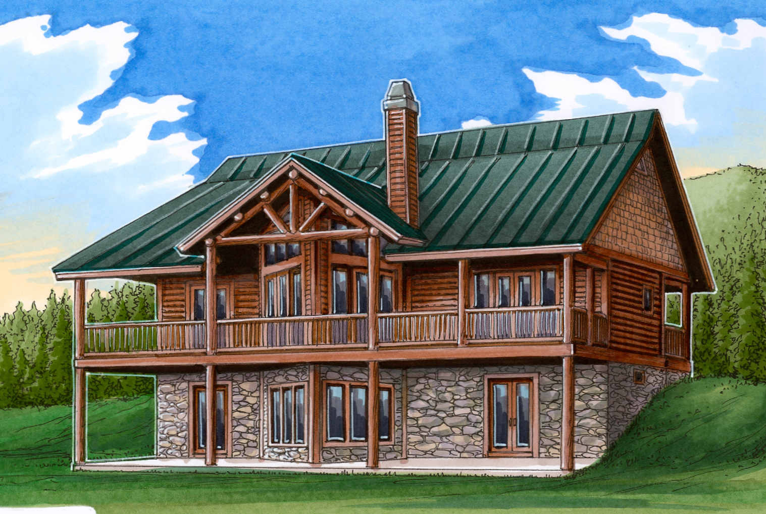 Mountain House Plan With Log Siding And A Vaulted Great