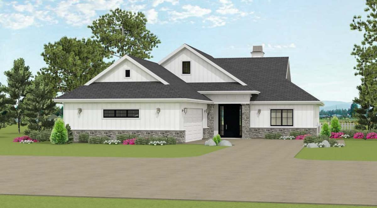 3 Bed House Plan With Courtyard Entry Garage 28900jj