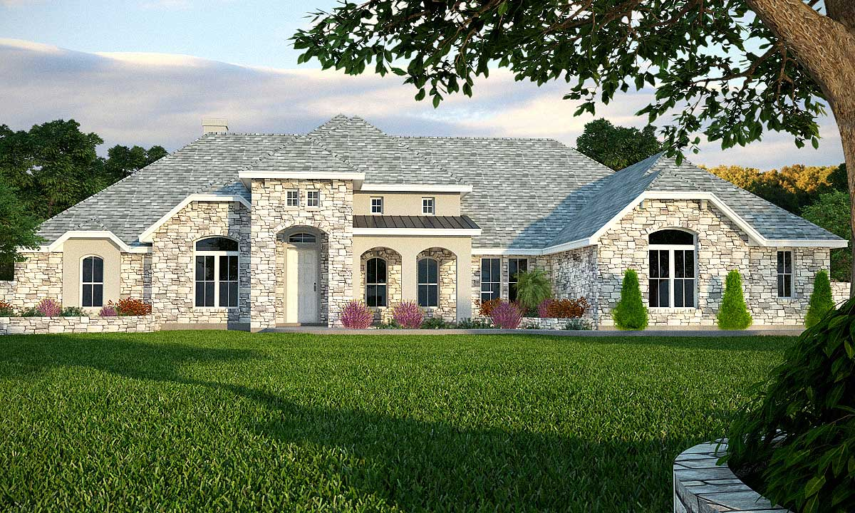 Ranch with Stone and Stucco Mix - 89250AH | Architectural ... |Stucco House Designs
