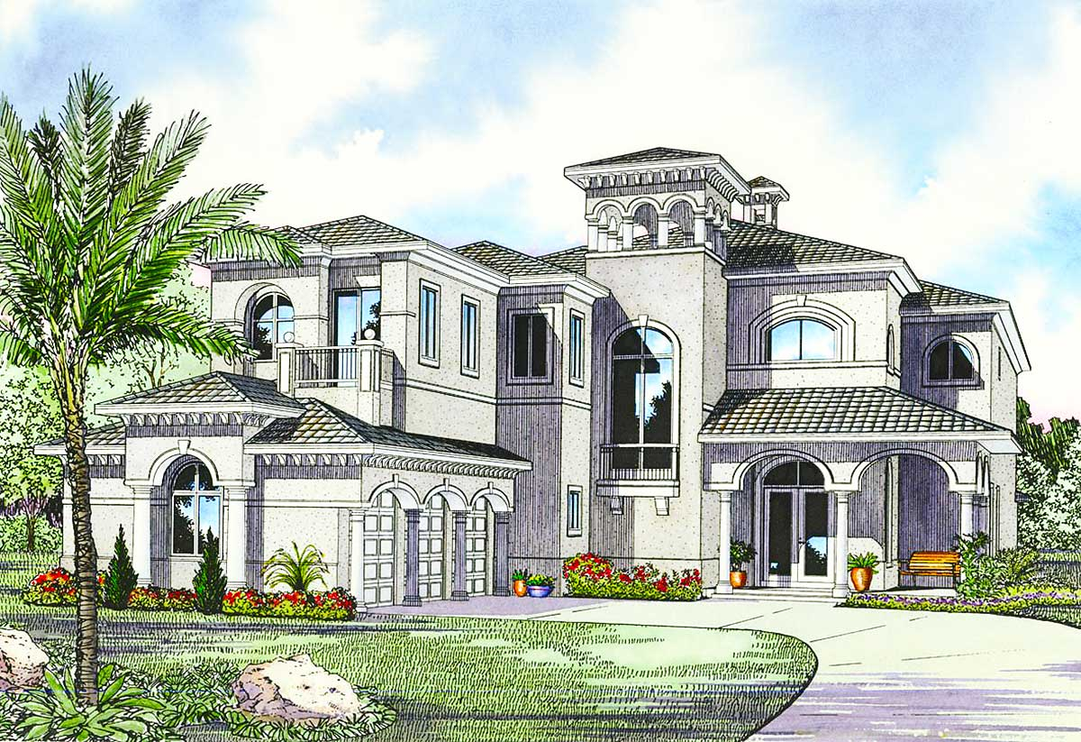 Luxury Mediterranean House Plan - 32058AA