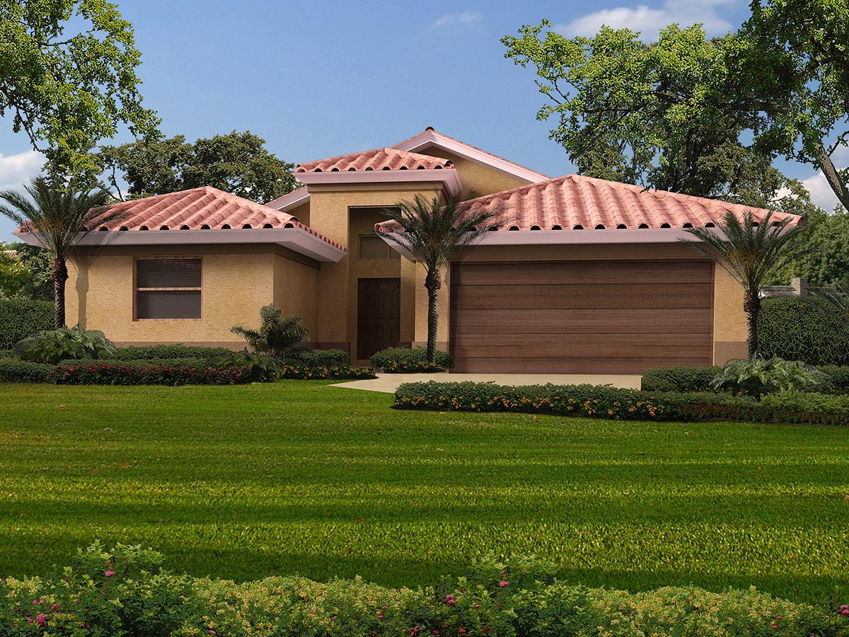 Mediterranean House Plan for Narrow Lot - 32161AA ...