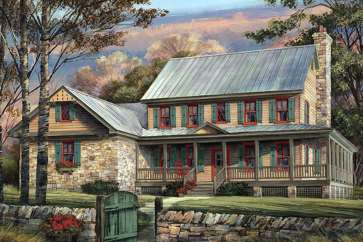 Rustic Country Home Plan With Marvelous Wraparound Porch