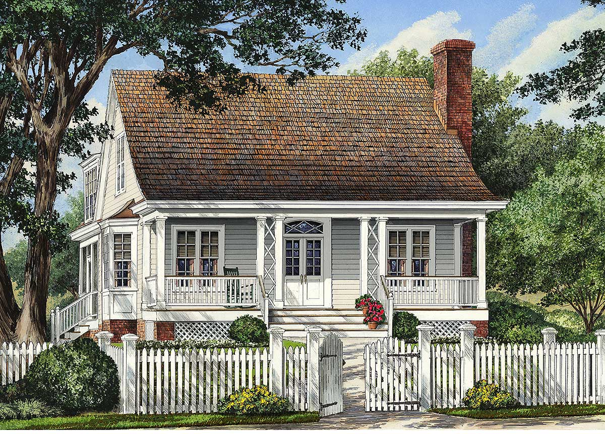 Narrow Lot Cottage Home 32421wp Architectural Designs