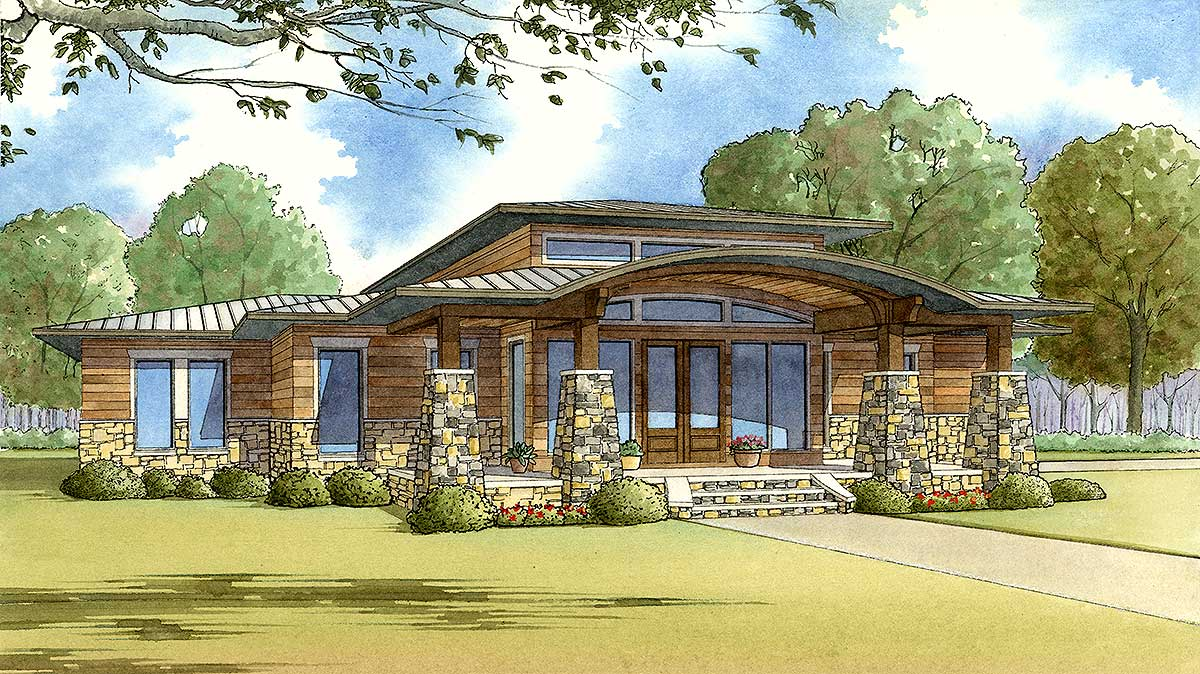 Modern Home Plan with Wrap-around Porch - 70520MK ...