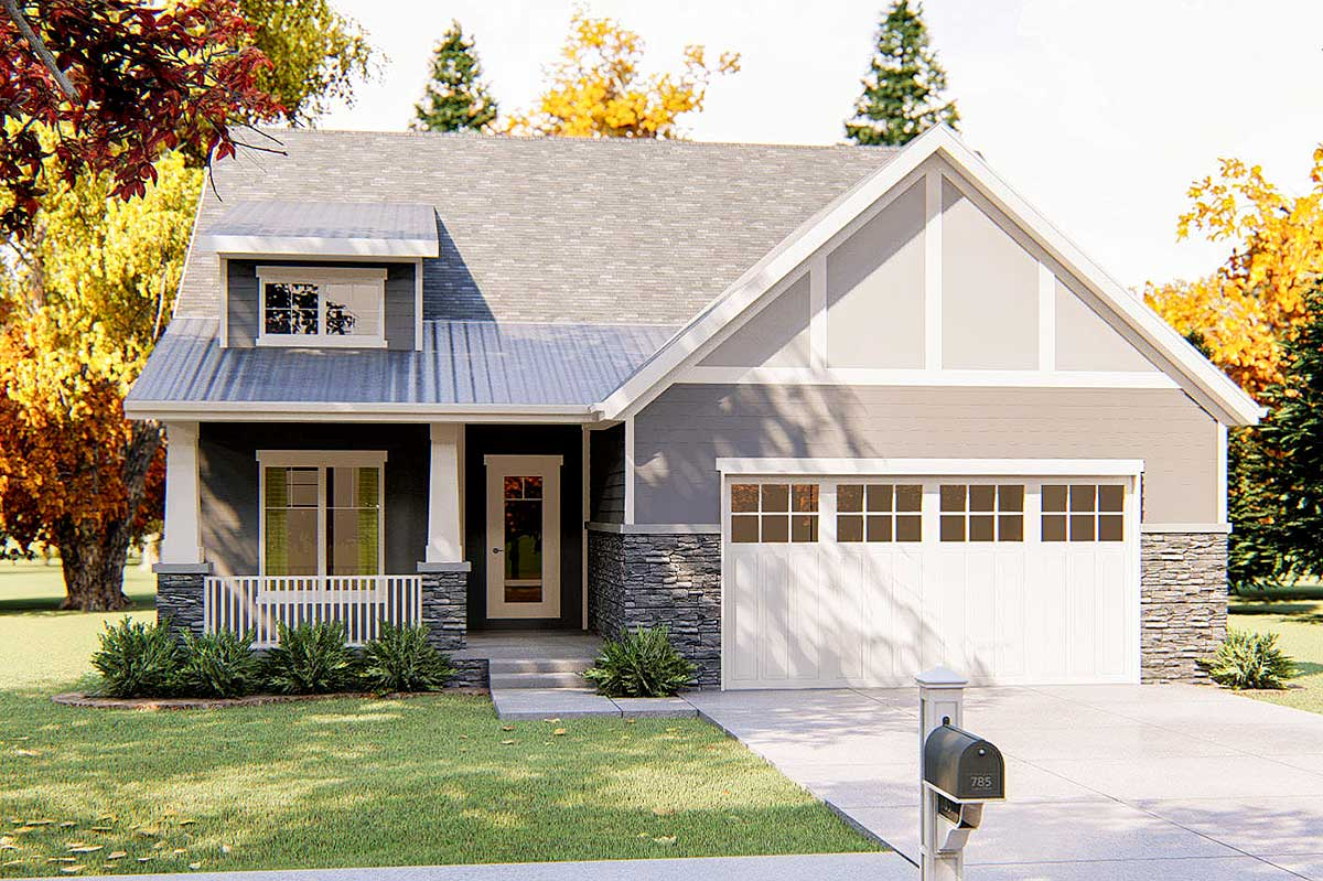 Roof Design Ideas: 2 Bed Craftsman With Shed Roof Front Porch