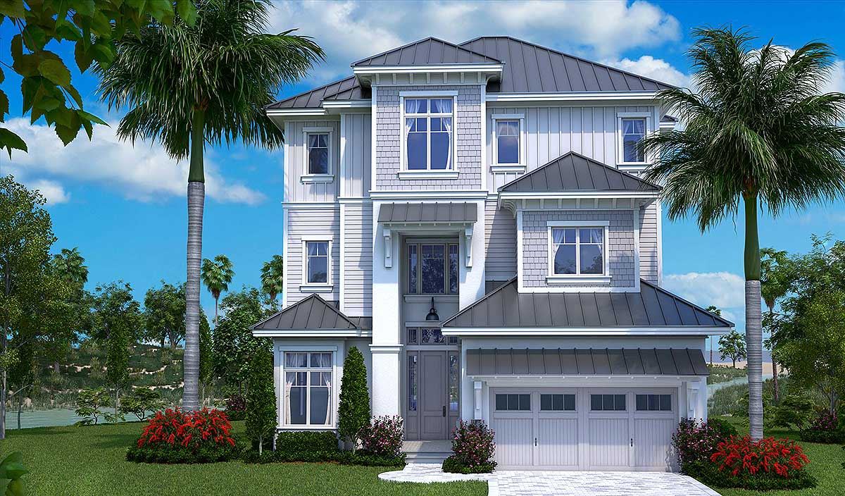 Three-Story Florida House Plan - 66367WE   Architectural ...