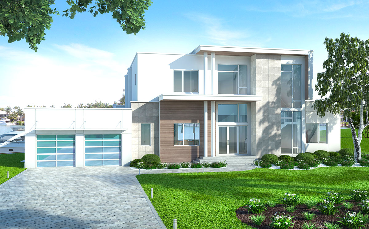 Contemporary House Plan With Upstairs And Downstairs