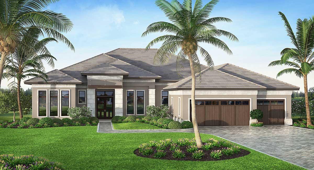 Split Bedroom Florida House Plan - 86035BW | Architectural ...