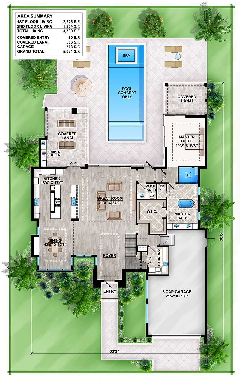 Master down modern house plan with outdoor living room - Modern home designs and floor plans ...