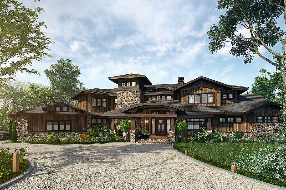 4 Bedroom Mountain Lodge House Plan - 12943KN ...