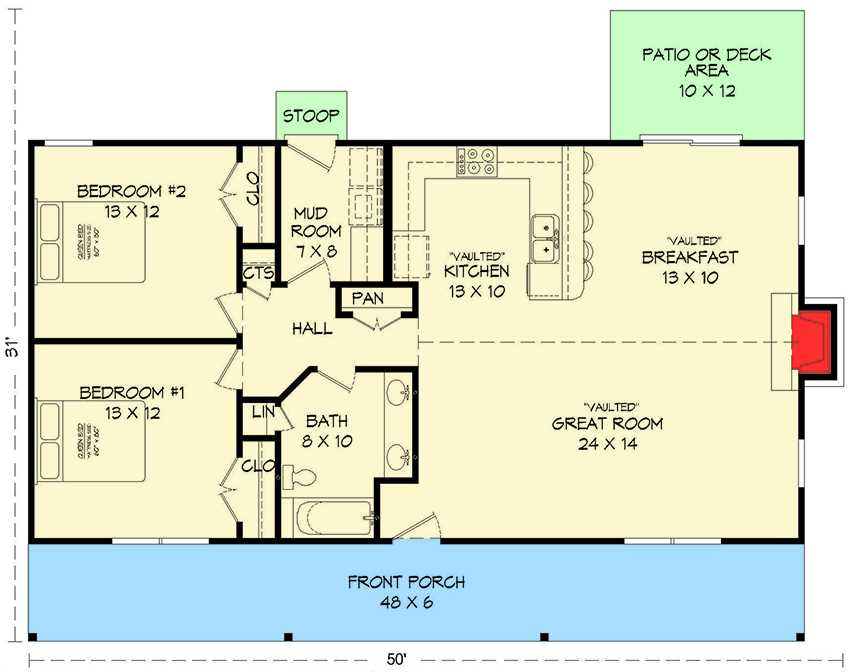 Plan 68419VR: Ranch House Plan with Vaulted Ceilings on