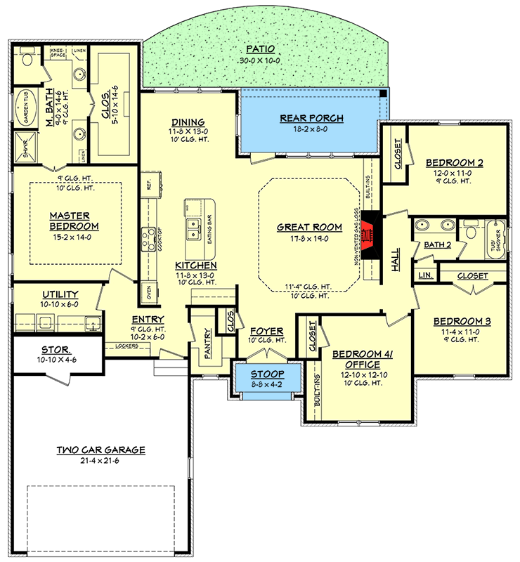 Island At Standard Counter Height Eating Section Dropped: Flexible Southern Home Plan - 51736HZ