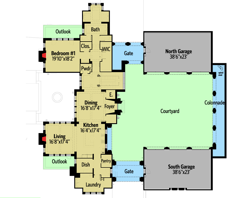 Castle House Plan with Six Master