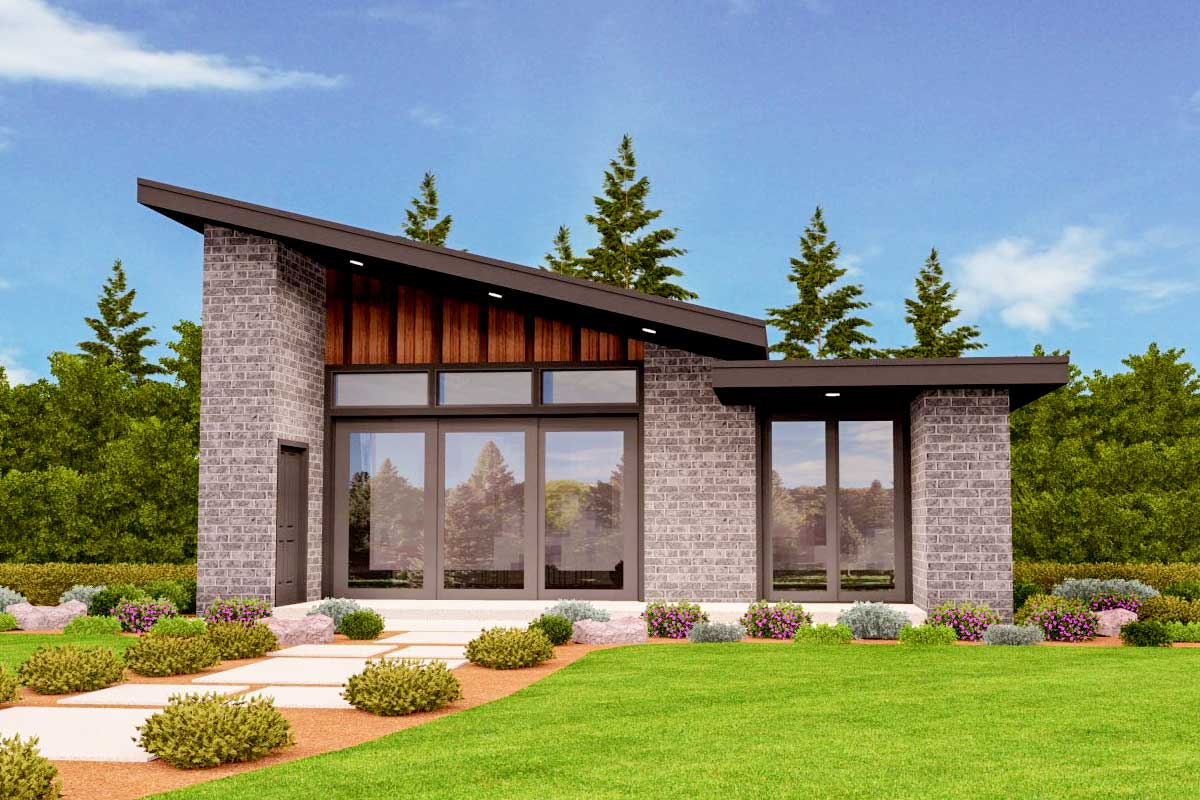 Exclusive Tiny Modern House Plan with Alternate Exteriors ...