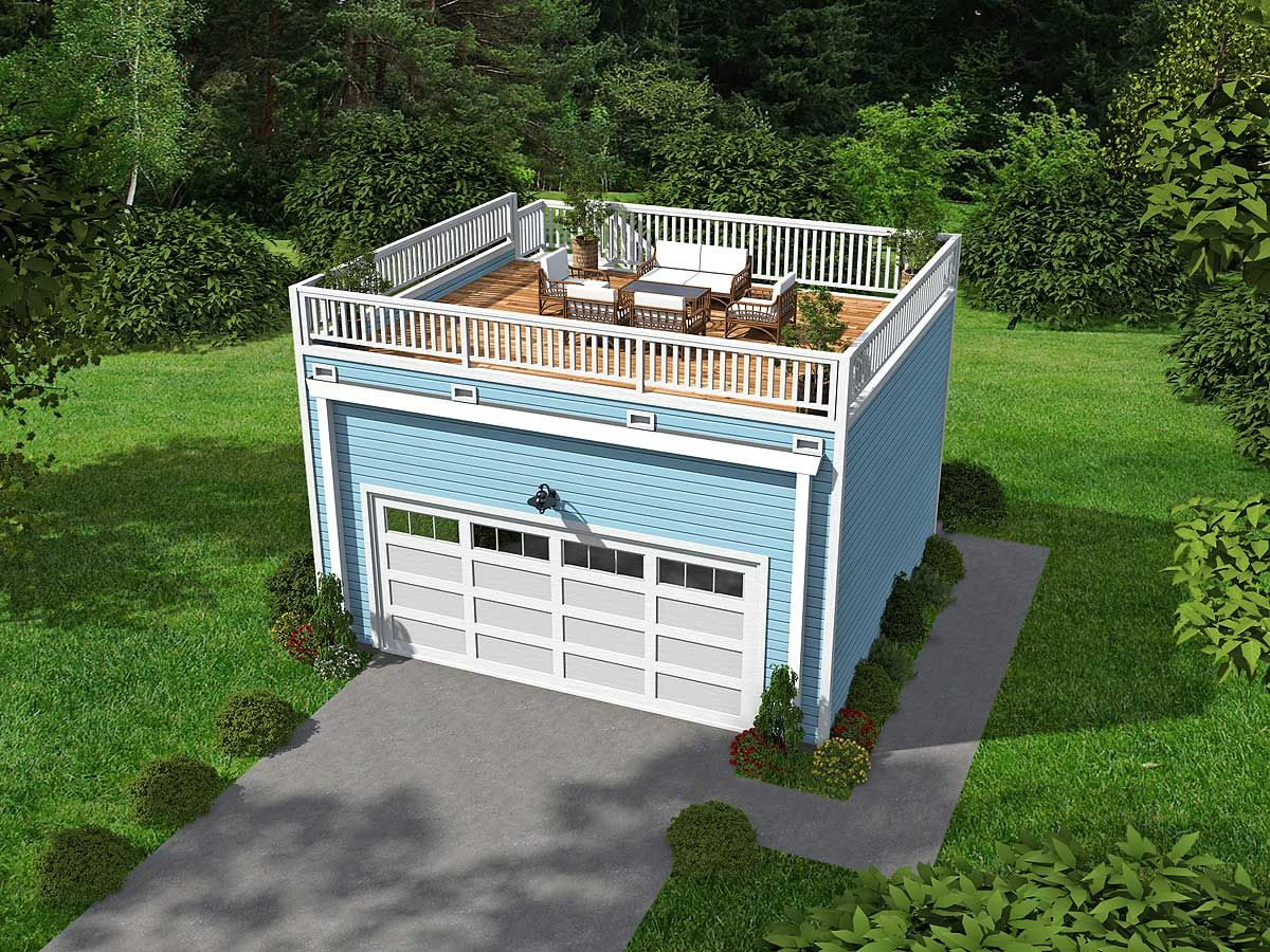 Garage With Roof Top Deck 68437vr Architectural