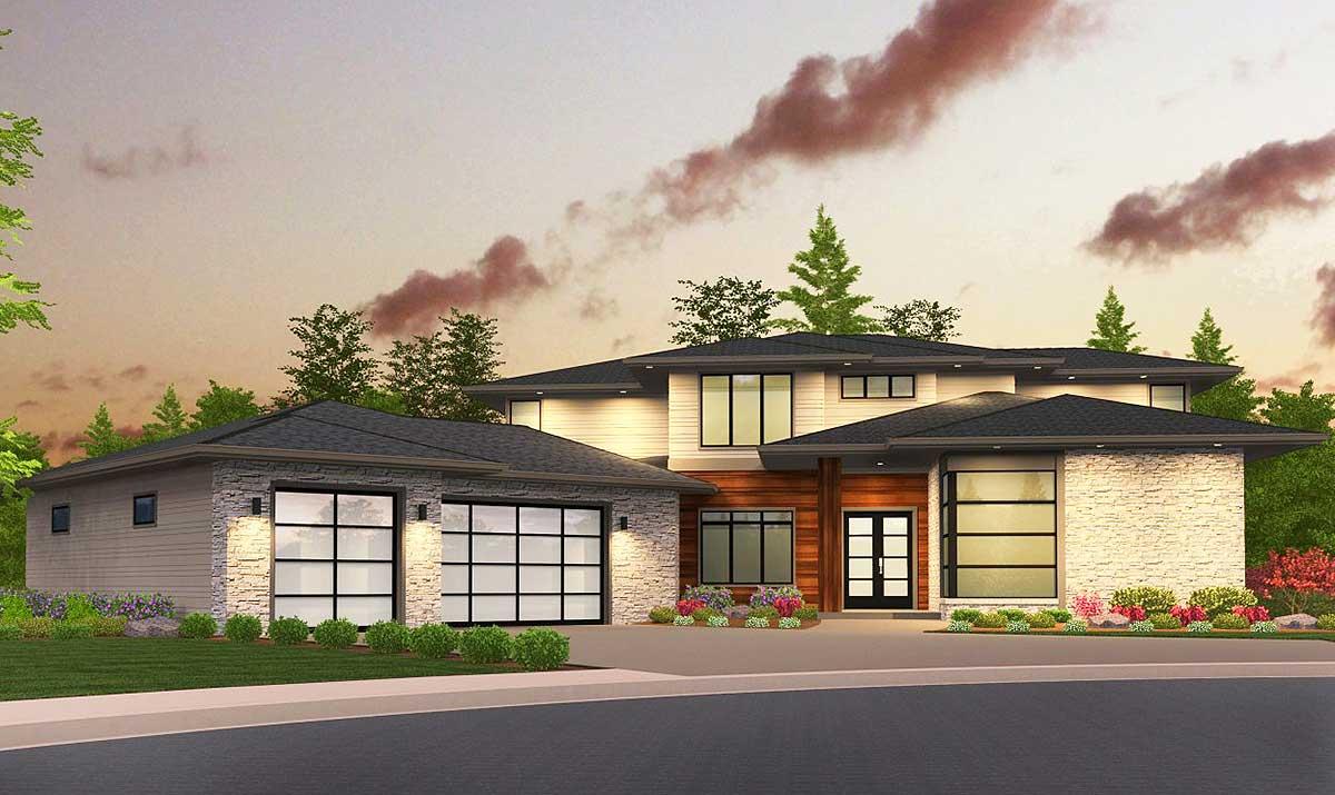 Sleek, Modern House Plan with Second Floor Rec Room ...