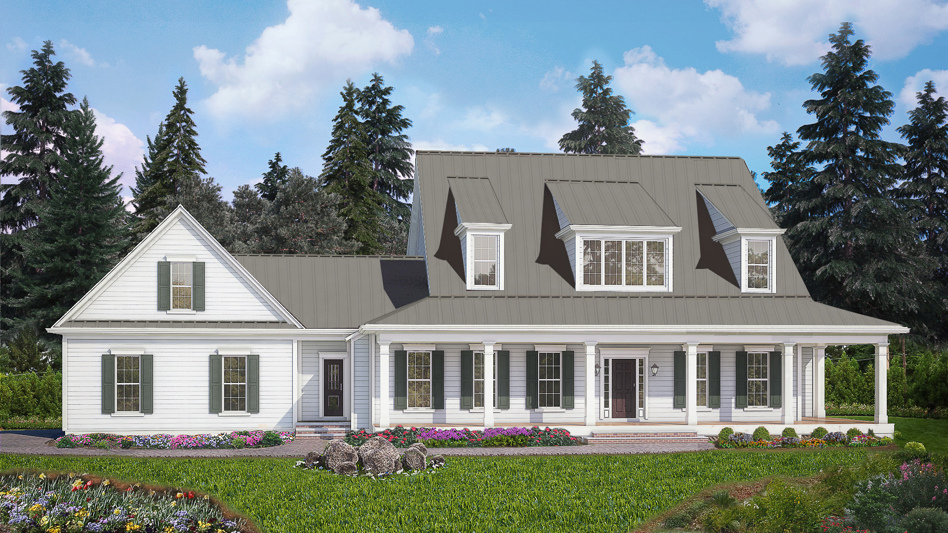 4 Bed Modern Farmhouse With Front And Rear Porches