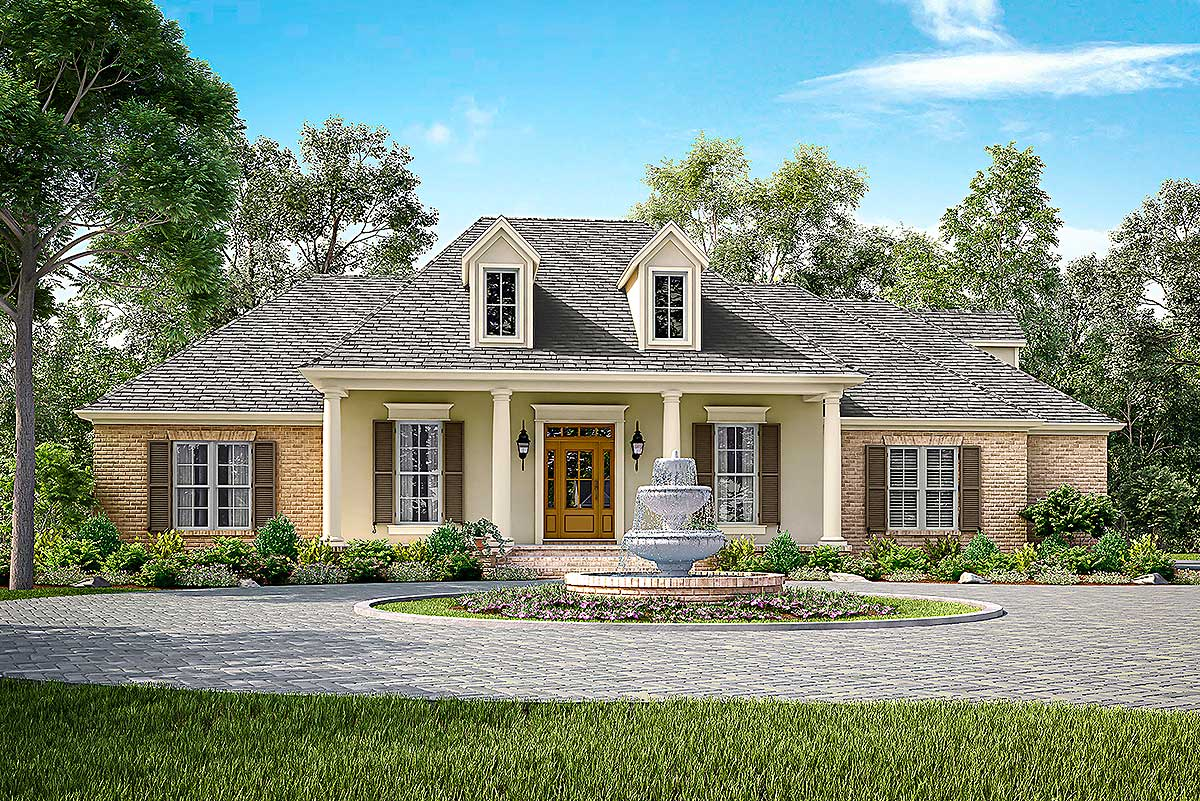 Elegant Acadian House Plan With Three or Four Beds ...