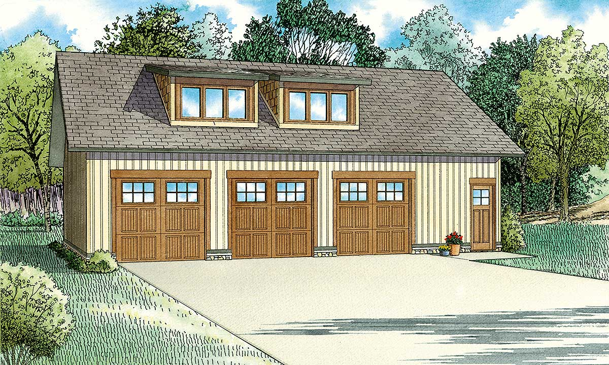 3-Car Craftsman Style Carriage House Plan