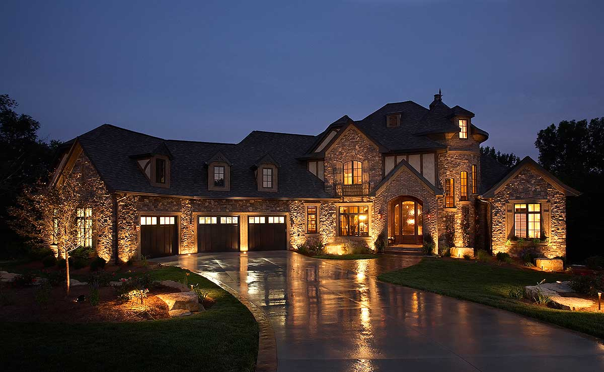4 Bed European-Style House Plan with Turreted Stair ...