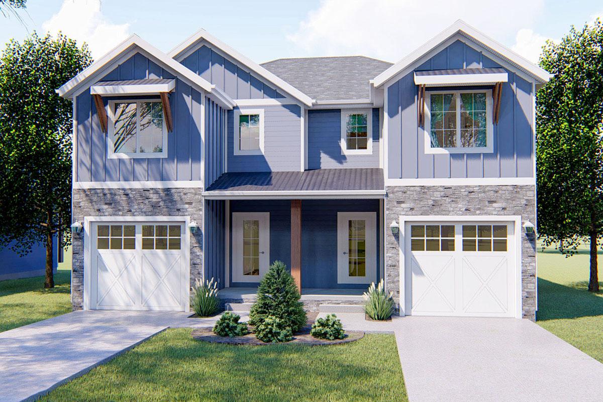 Plan 62658DJ: 3 Bed Craftsman Narrow Lot Duplex House Plan