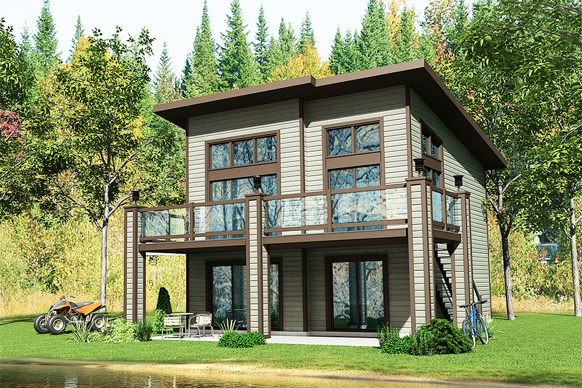 Contemporary House Plan with Wrap-Around Balcony - 90282PD ...